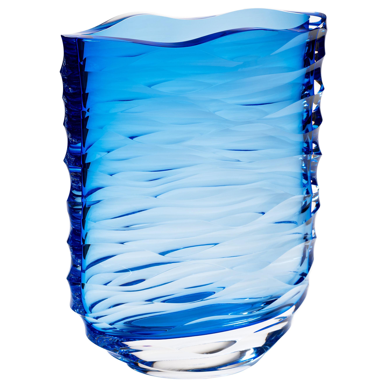 Moser Unique Vase Blue Cut Grooves