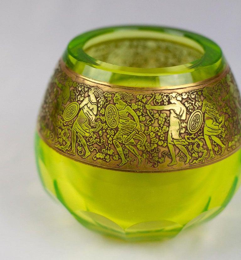 Czech Moser 'uranium glass' Vaseline Glass Vase For Sale