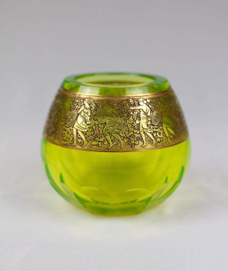 Moser 'uranium glass' Vaseline Glass Vase In Good Condition For Sale In Bloomfield Hills, MI