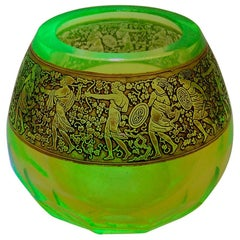 Moser 'uranium glass' Vaseline Glass Vase