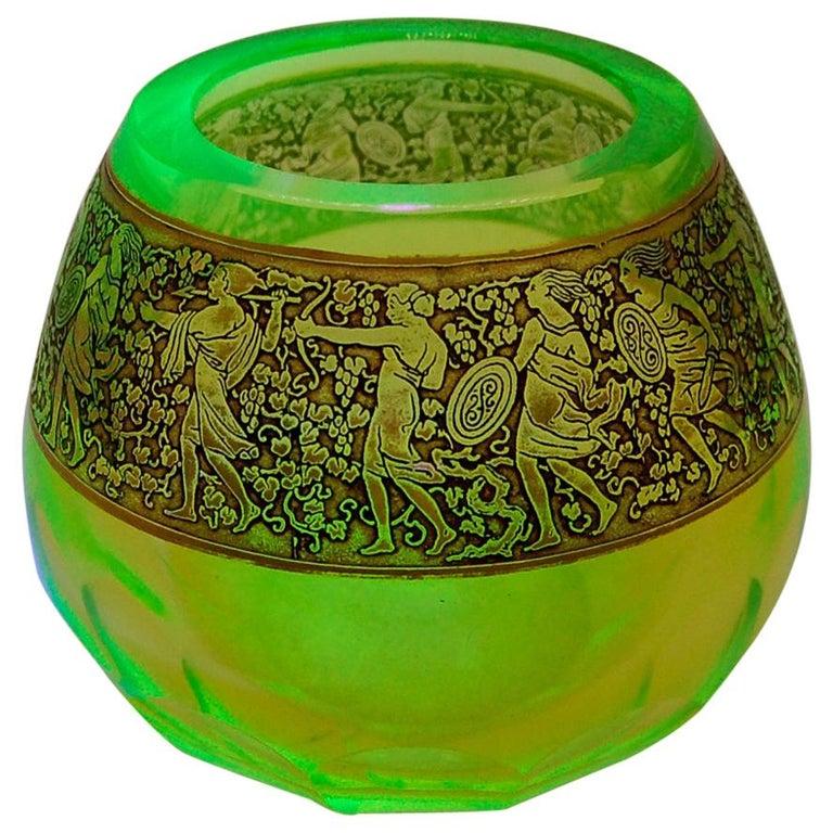 Moser 'uranium glass' Vaseline Glass Vase For Sale