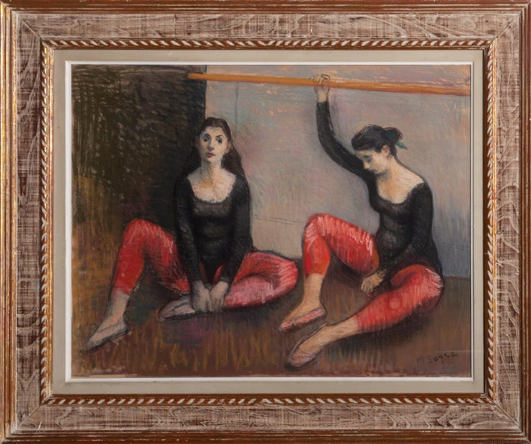 Dancers at the Barre Moses Soyer, American (1899–1974) Date: circa 1950 Pastel on paper, signed lower right Size: 22 x 28 in. (55.88 x 71.12 cm) Frame Size: 30.5 x 36 inches  ACA Galleries label verso.