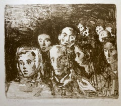 Social Realist Lithograph Moses Soyer WPA Artist Hudled Refugees