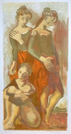 THREE BALLET DANCERS Signed Original Lithograph, Dance Portrait, Orange, Khaki