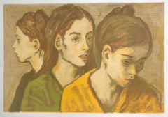 THREE YOUNG WOMEN PORTRAIT Signed Original Lithograph, Avocado Green, Mustard