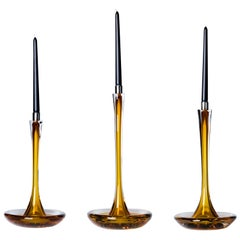 Moshe Bursuker Set of 3 Amber Glass Candleholders, 2020