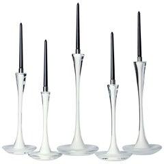 Moshe Bursuker Set of 5 White Glass Candleholders, 2021