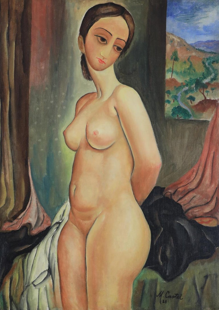Nude by MOSHE CASTEL (1909-1991) Oil on canvas 79 x 57 cm (31 ¹/₈ x 22 ¹/₂ inches) Signed and dated lower right, M. Castel 28 Executed in 1928  Provenance Private Collection, London