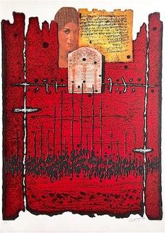 ABOVE JERUSALEM, Signed Lithograph, Collage Portrait, Sephardic Woman, Judaica