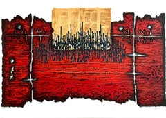 Book of Moses, Signed Lithograph, Jewish Symbolism, Deep Red, Black
