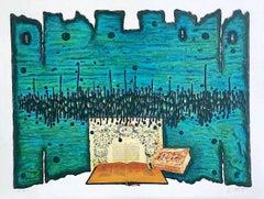 PRAYER, Signed Lithograph, Holy Books, Jewish Art, Blue Green, Black