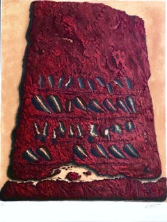 SECRET WRITINGS, Signed Lithograph, Ancient Script Stone Tablet, Dark Red