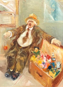 Israeli Oil Painting Modernist Impressionist Candy Man Toy Chest