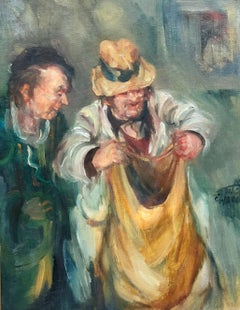 Israeli Oil Painting Modernist Impressionist Painting Farmer with Sack