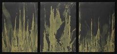 Triptych Israeli Modernist Abstract Gold Paint Prints Bezalel Artist Gershuni