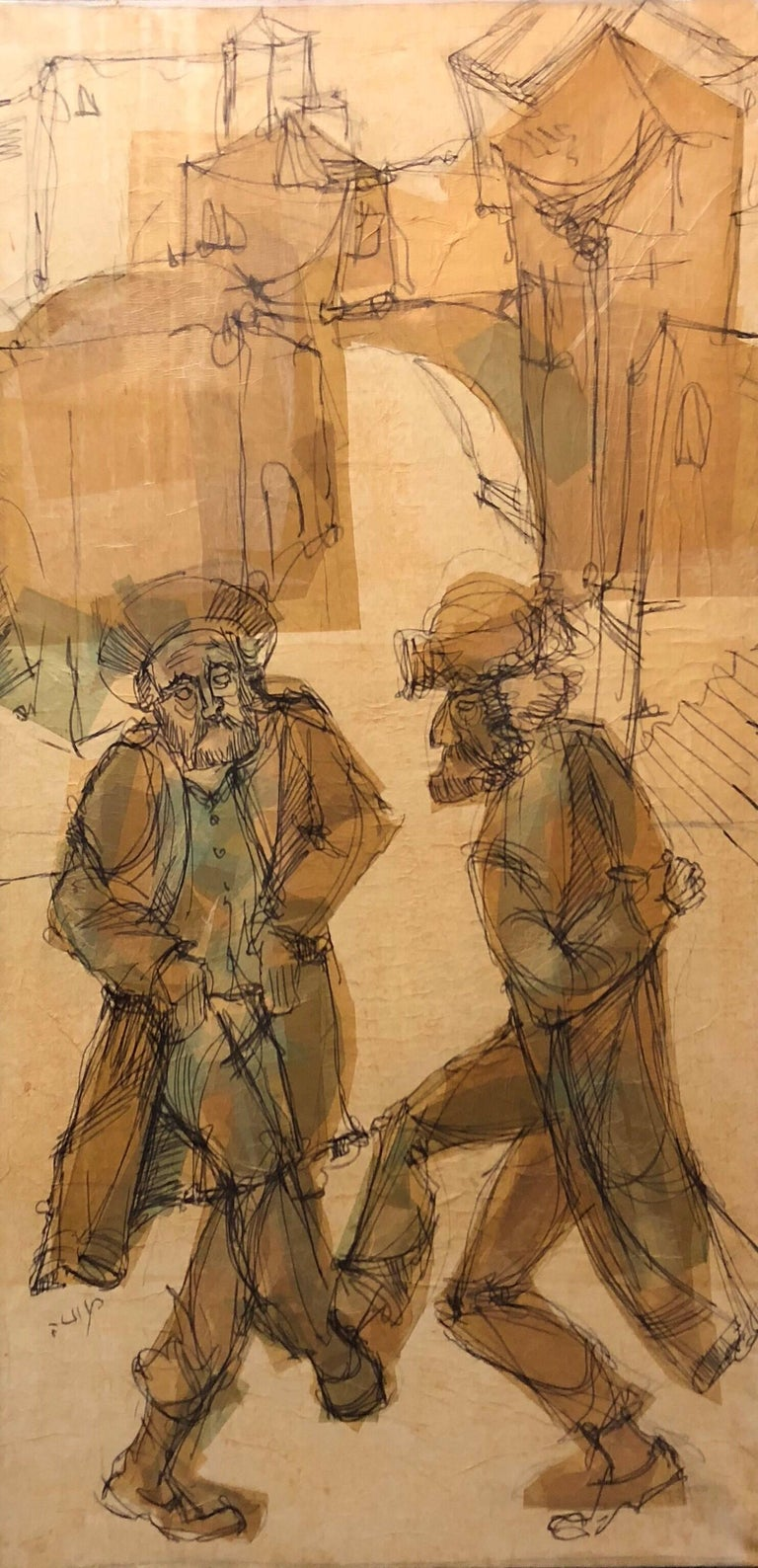 Israeli Rabbis Dancing in Jerusalem, Judaica, Mixed Media Painting - Brown Portrait Painting by Moshe Katz