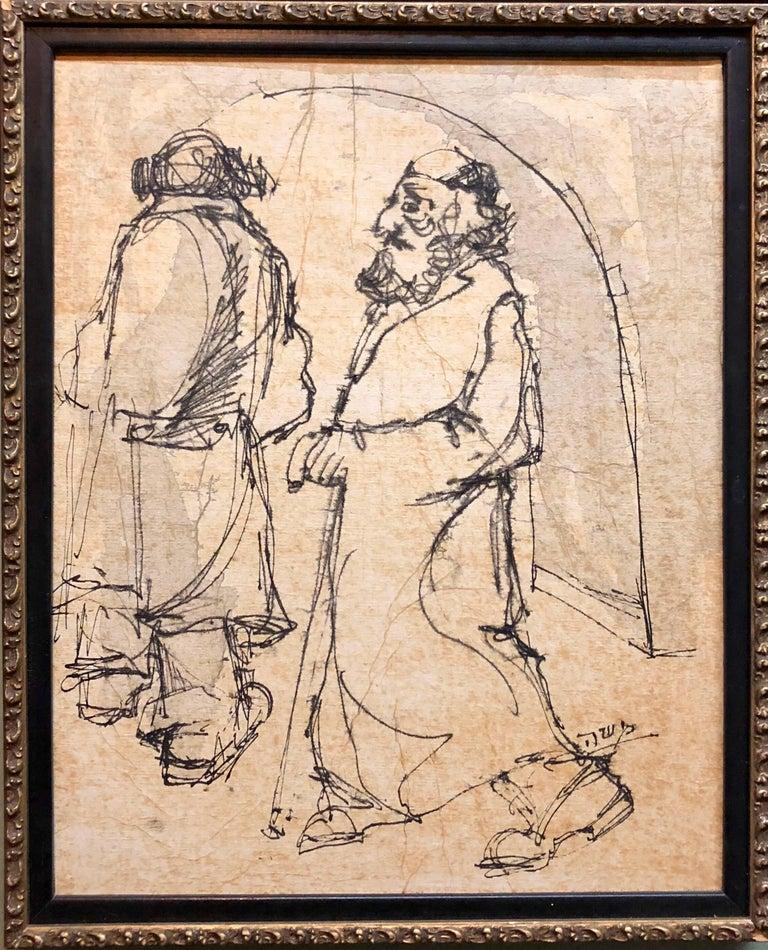 Modernist Israeli Judaica Mixed Media Painting Rabbis Walking In Jerusalem - Brown Portrait Painting by Moshe Katz