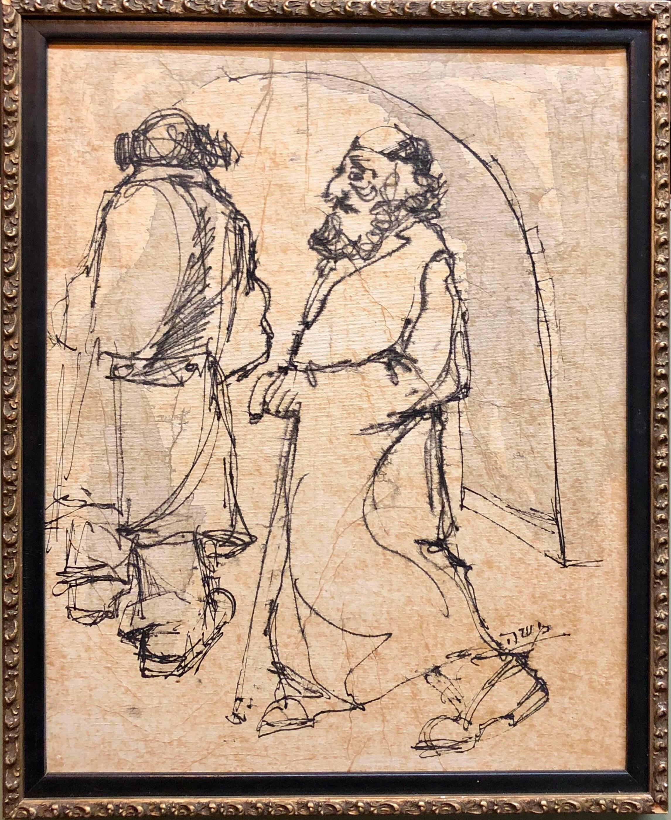 Modernist Israeli Judaica Mixed Media Painting Rabbis Walking In Jerusalem