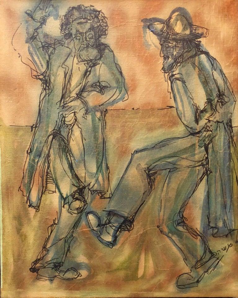 Modernist Israeli Rabbis Dancing in Jerusalem, Judaica, Mixed Media Painting