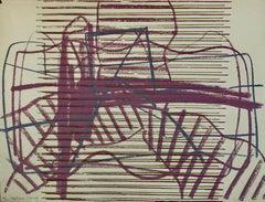 Abstract Jerusalem Silkscreen Lithograph Moshe Kupferman Israeli Kibbutz Artist