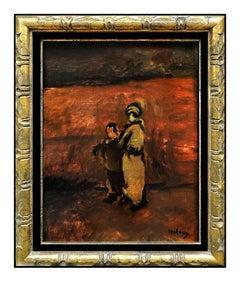 Moshe Mokady Oil Painting on Canvas Signed Portrait Original Authentic Artwork