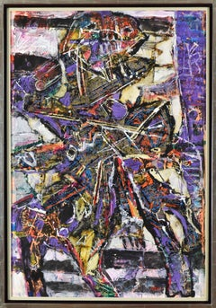 Abstract mixed media painting by Moshe Tamir titled 'Der Reiter (The Rider)'