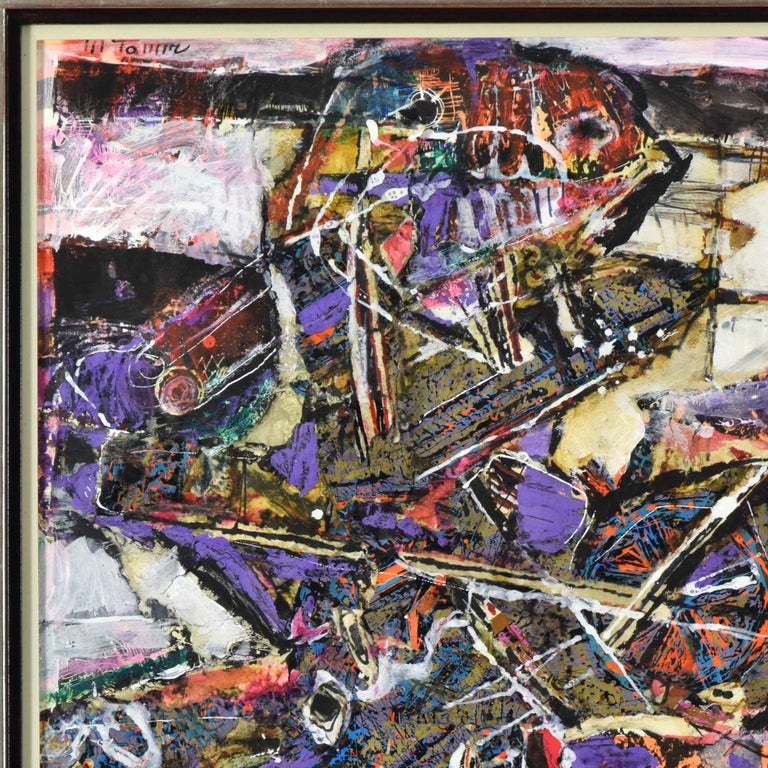 Mixed media and collage on paper 101 x 72 cm (39 ¾ x 28 ⅜ inches) Signed upper left, M Tamir