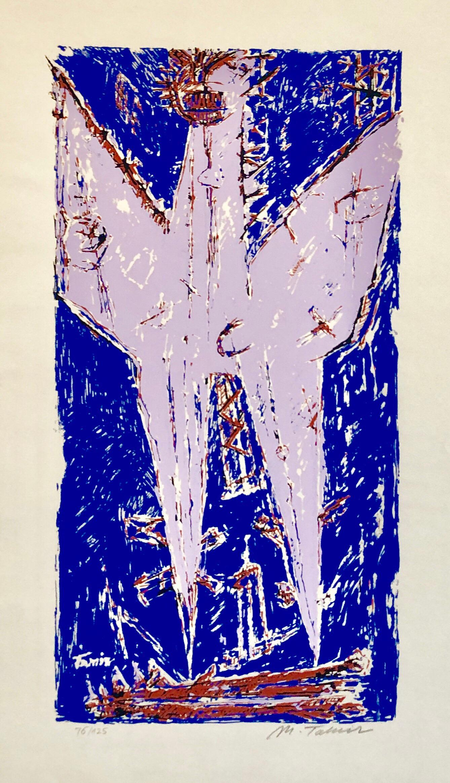 1959 Israeli Moshe Tamir Color Modernist Mixed Media Serigraph Phoenix