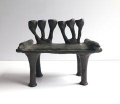 RARE British Judaica Holocaust Memorial Menorah Bronze Sculpture Moshe Oved