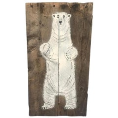 Mosko Signed White Bear Painted on Wooden Board, French, 2004