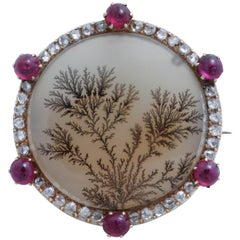 Moss Agate Brooch or Pendant