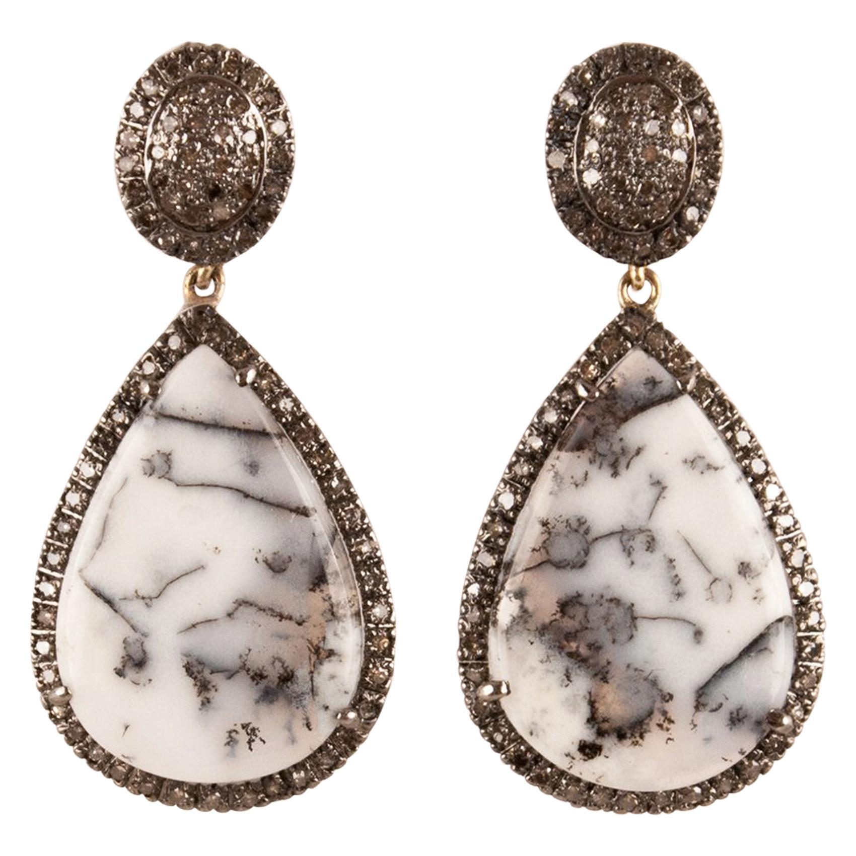 Moss Agate Diamond Drop Earrings