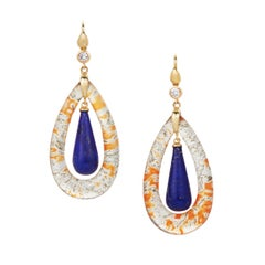 Moss Agate, Lapis, and Diamond Earrings in 18 Karat Yellow Gold