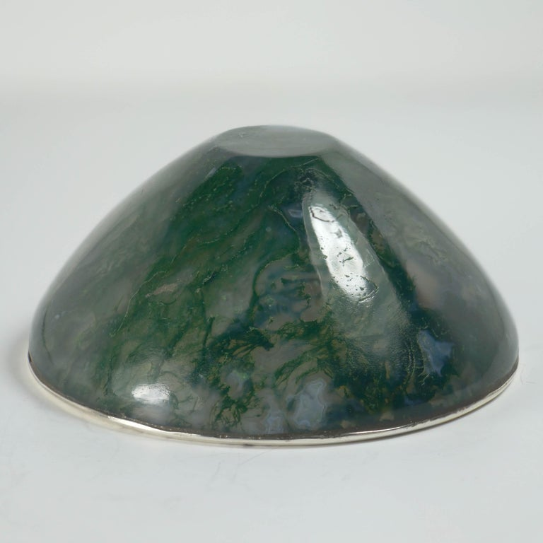 Women's or Men's Moss Agate Silver Mounted Bowl For Sale