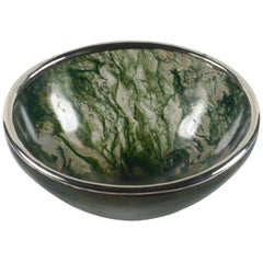 Moss Agate Silver Mounted Bowl