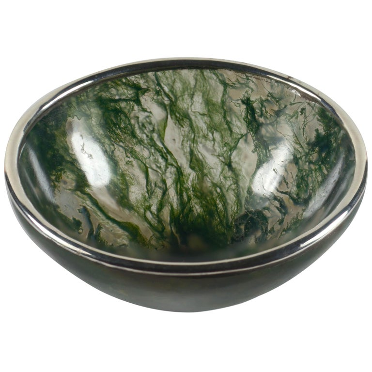 Moss Agate Silver Mounted Bowl For Sale