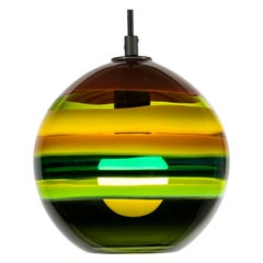 Moss Banded Orb, Hand Blown Glass, Green Pendant Light