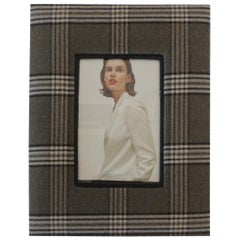 Moss Green and Grey Plaid Wool Picture Frame