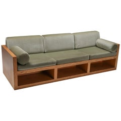 Moss Green Velvet and Pitch Pine Three-Seat Sofa