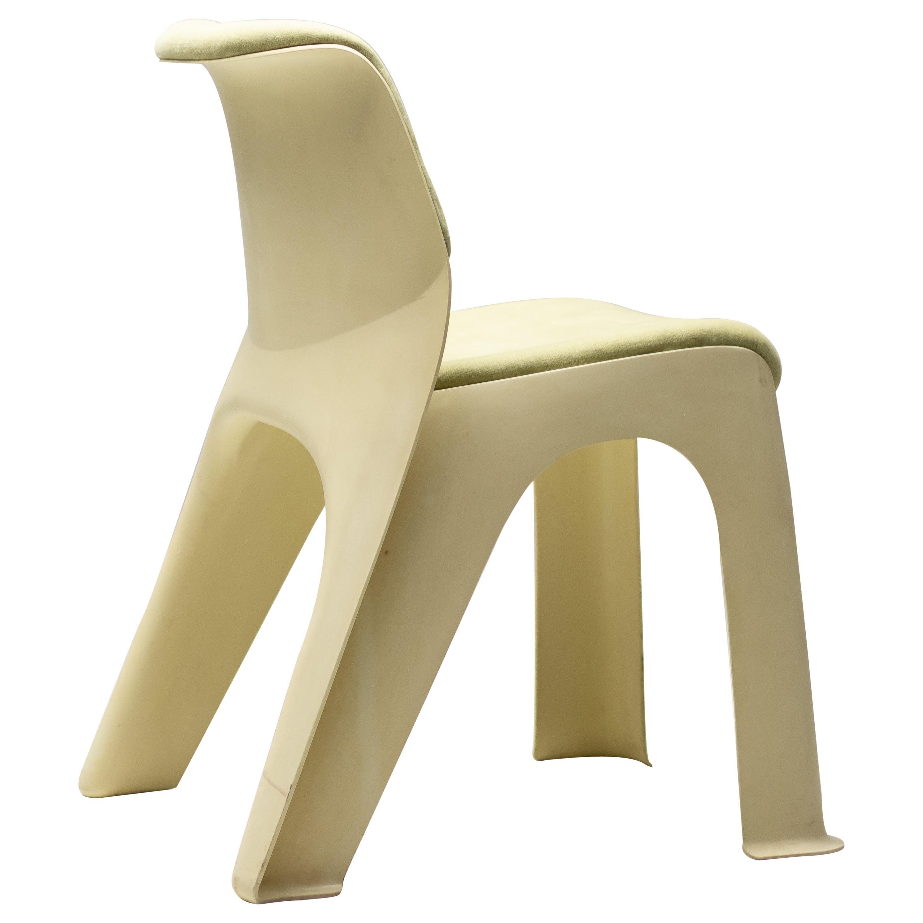 Moss Linen Plastic Chair, 1974