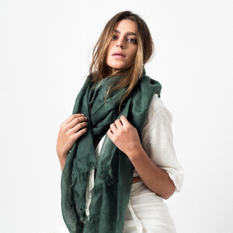 Modern Moss Solid Linen Scarf / Wrap / Shawl  For Sale