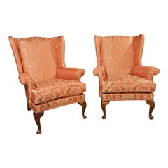 Most Attractive Pair of George II Style Walnut Framed Wing Chairs