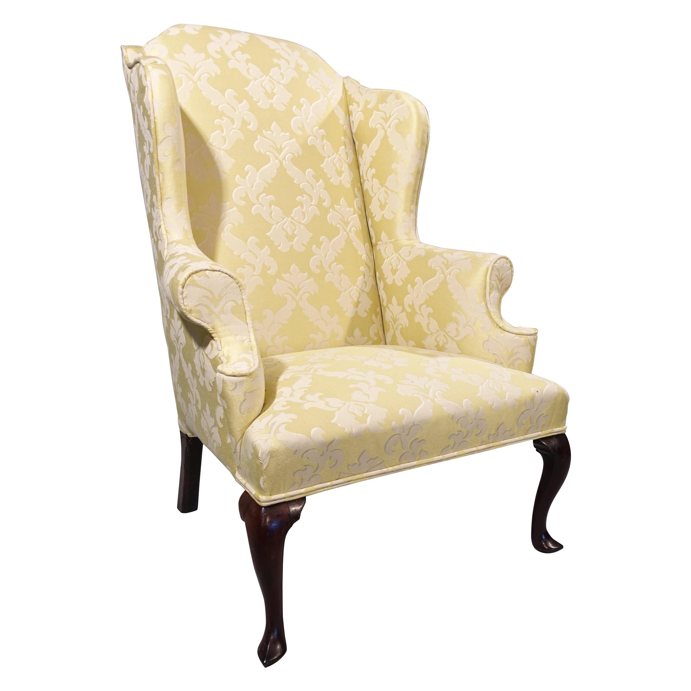 Most Shapely Mid-20th Century Queen Anne Designed Walnut Framed Wing Chair