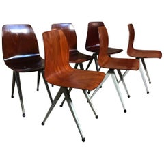 Most Sought After Paghold Industrial Retro Metal Bendwood Chair Set of 6 Chairs