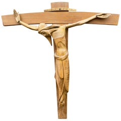 Most Stylish Large & Quality Carved Wooden Art Deco Corpus of Christ on Crucifix