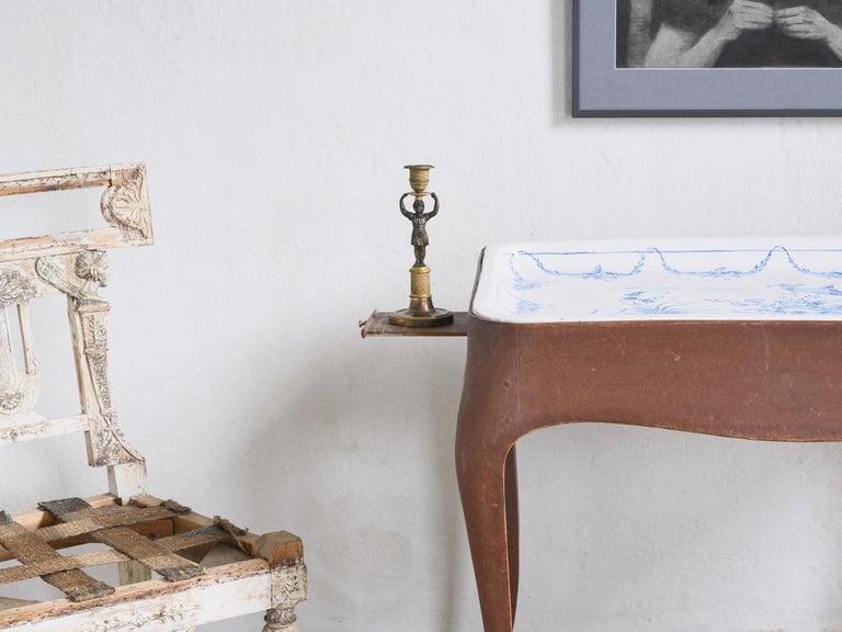 Most Unusual 18th Century Swedish Rococo Tea Table For Sale 5
