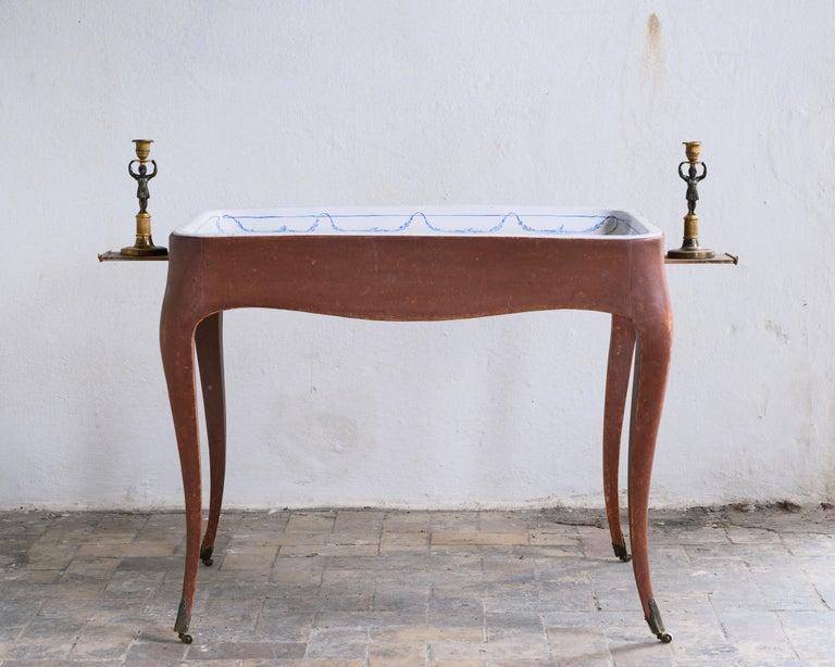 Most Unusual 18th Century Swedish Rococo Tea Table For Sale 7
