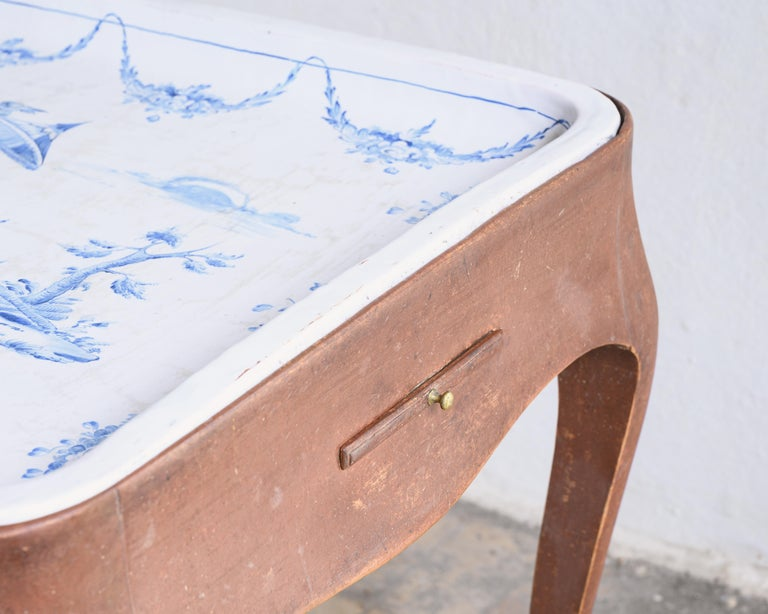 Hand-Crafted Most Unusual 18th Century Swedish Rococo Tea Table For Sale