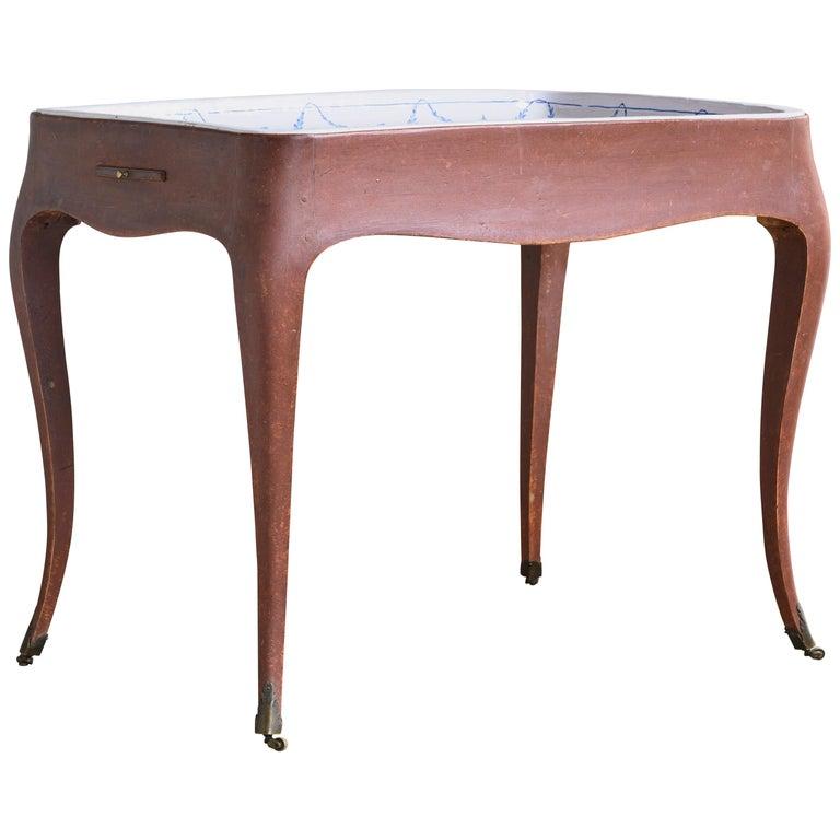 Most Unusual 18th Century Swedish Rococo Tea Table For Sale