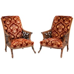 Most Unusual and Fine Pair of 19th Century Mahogany Framed Easy Chairs